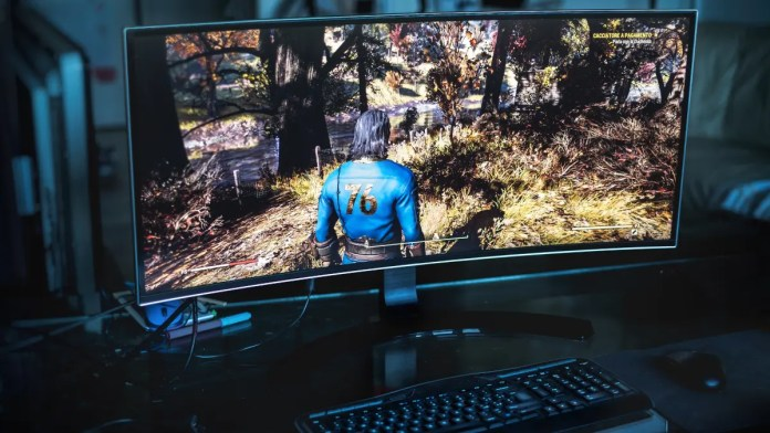 A computer monitor showing a game