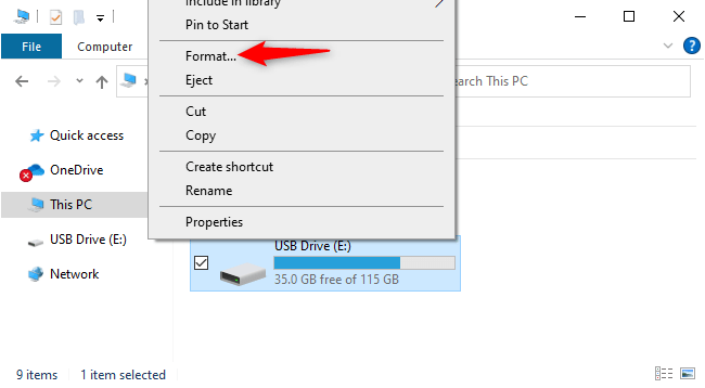 """Right-click a disk and select """"Format."""""""