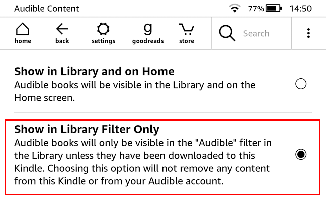 Select Show in Library Filter Only