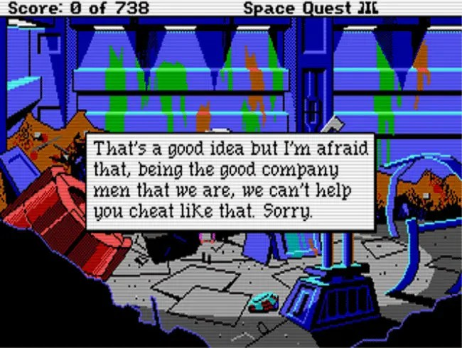One of the boss key messages from Space Quest III (1989).