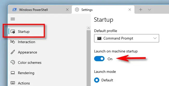 """In Windows Terminal Settings, click """"Startup"""" in the sidebar, then switch """"Launch on machine startup"""" on."""