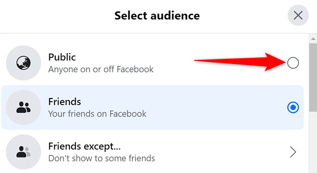 """Select """"Public"""" in the """"Select Audience"""" window on Facebook."""