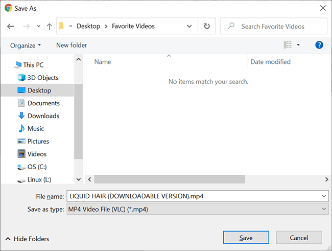Select a folder to save the video in on a desktop.