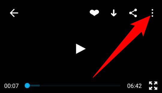 Tap the three dots at the top-right corner of a video in the Vimeo app.