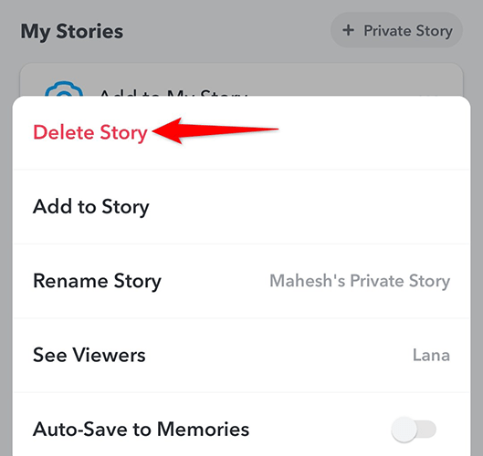 """Select """"Delete Story"""" from the three-dots menu for a Private Story in Snapchat."""