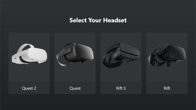 Quest Select Headset Screen