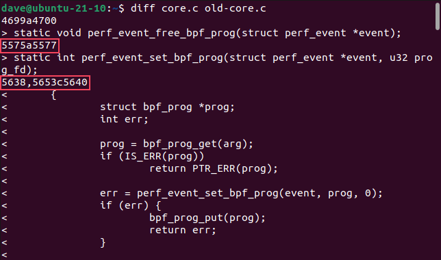 Using diff to compare two files