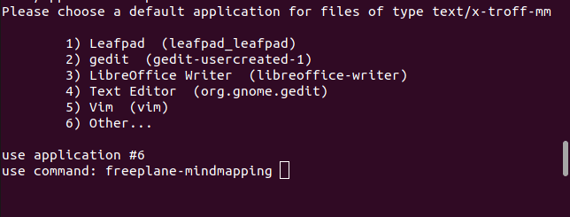 providing an application mae to the mimeopen menu option 6