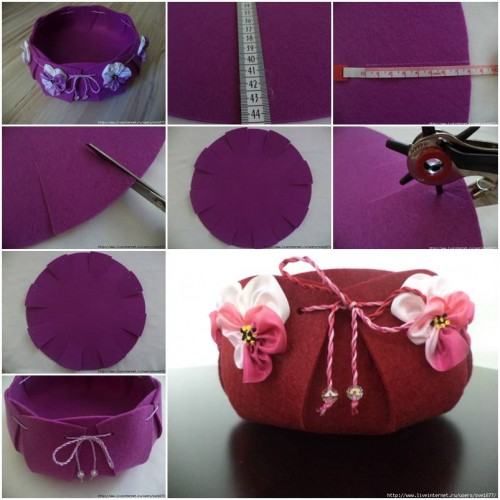 How To Make Beautiful Felt Basket Step By Step DIY