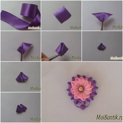 how to make ribbon button flower step by step diy tutorial instructions how to instructions