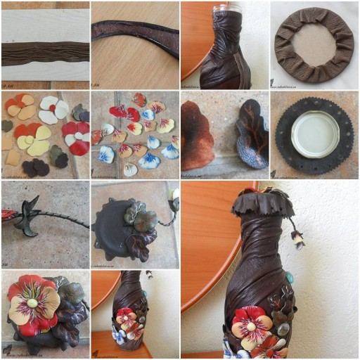 How to Make Flower Fantasy Decorated Bottle step by step DIY tutorial instructions  How To