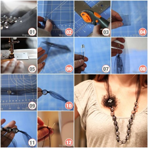 How to Make beads or pearl Necklace with Flowers step by