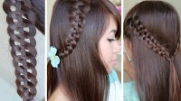 how to do a 4 strand braid hairstyle for medium long hair ...