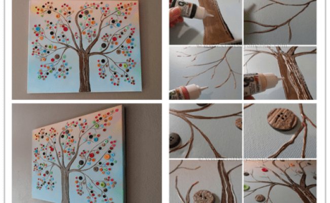Diy Button Tree Canvas Wall Art Tutorial How To Instructions