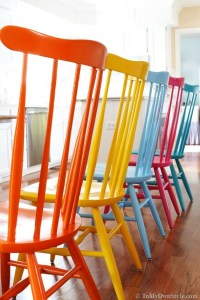 How to spray paint colorful wooden chairs step by step DIY ...