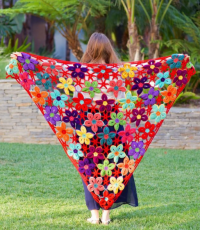 How To Crochet Pretty Flower Motif Shawl | How To Instructions