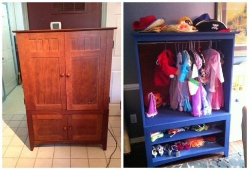 How To Turn An Entertainment Center Into A DressUp Closet