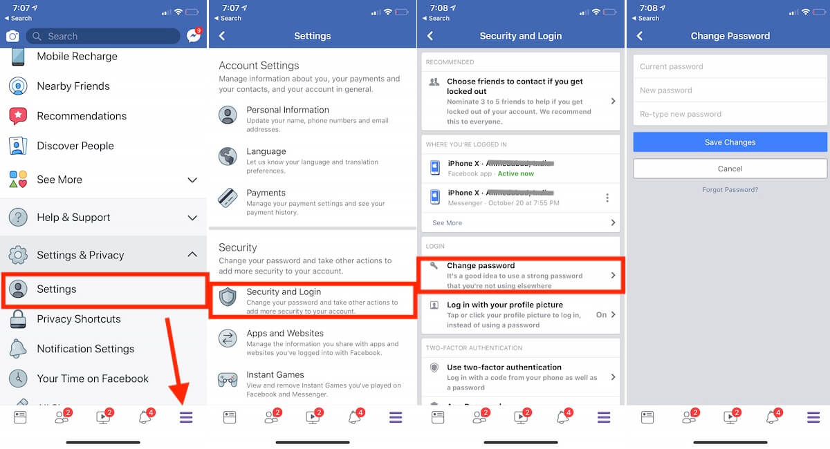 How to Change facebook password on iPhone: iOS – HowToiSolve
