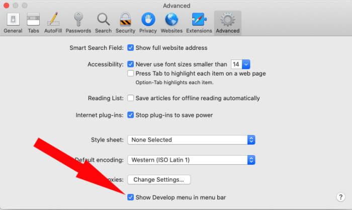 Показать меню разработки в macOS