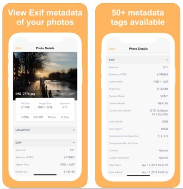 Приложение метаданных EXIF для iPhone