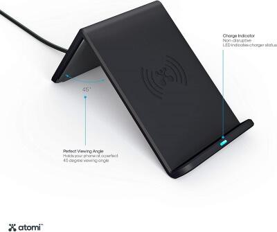 Atomi Wireless Charge Stand 10W Qi Беспроводное зарядное устройство для сотового телефона Черный
