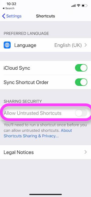 Невозможно включить переключатель Разрешить ненадежные ярлыки на iPhone