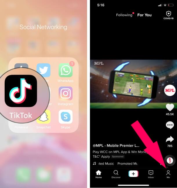 Открыть профиль TikTok в приложении iPhone Tiktok