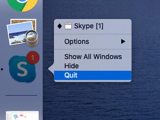Выйти из Skype на MacBook Mac