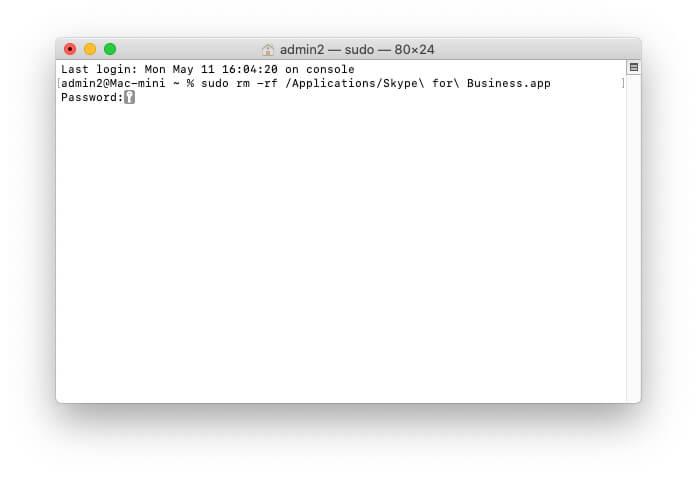 Удалить файл Skype с помощью терминала на Mac для чистой удалить Skype