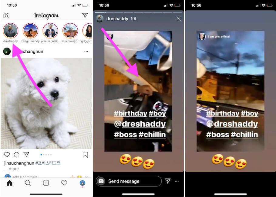 Нажмите и удерживайте Instagram Storie, чтобы играть во время игры на iPhone