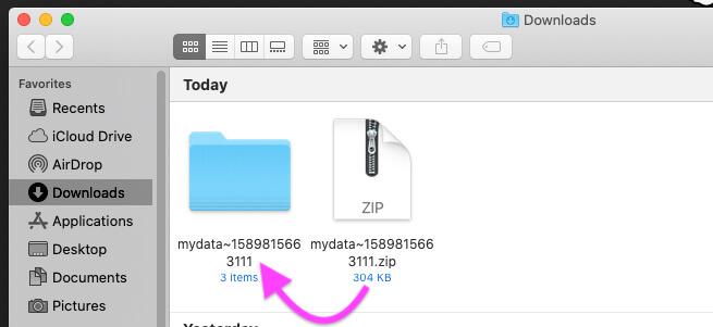 Распакуйте Zip-папку на Mac