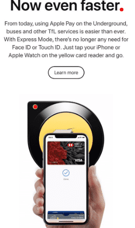 How to apply for apple pay express transmit mode for London services