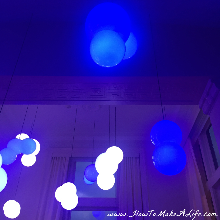 blue globes at 21c Museum Lexington