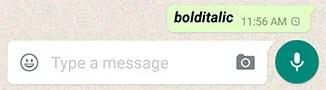 Bold italic WhatsApp