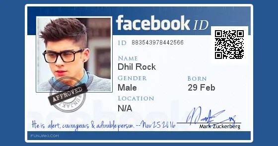 2017 How To Facebook Identity fake Maker Create Card Id