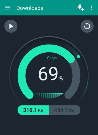 Download manager for Android live downloading progress bar for speed indicator