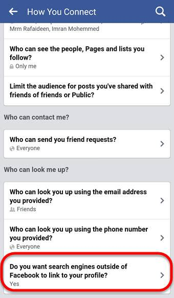 Do you want search engines outside of Facebook to link to your profile Mobile
