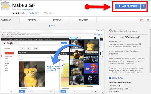 Google Chrome extension for creating GIFs from YouTube Videos