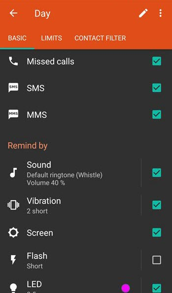 Android Missed call and text message reminder