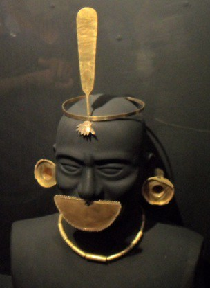 Moche gold ceremonial head pieces