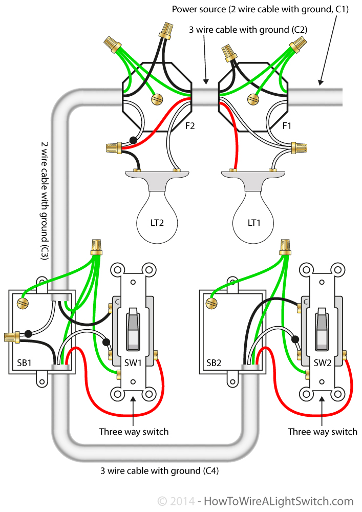 3 Way Switch With Power Feed Via The Light Multiple Lights How