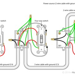 Electrical Wiring Diagram Light Switch 2007 Honda Pilot Serpentine Belt For 4 Way Switches Library With The Power Source Via