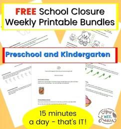 Preschool and Kindergarten School Closure Homeschooling Printables - How  Wee Learn [ 1024 x 963 Pixel ]