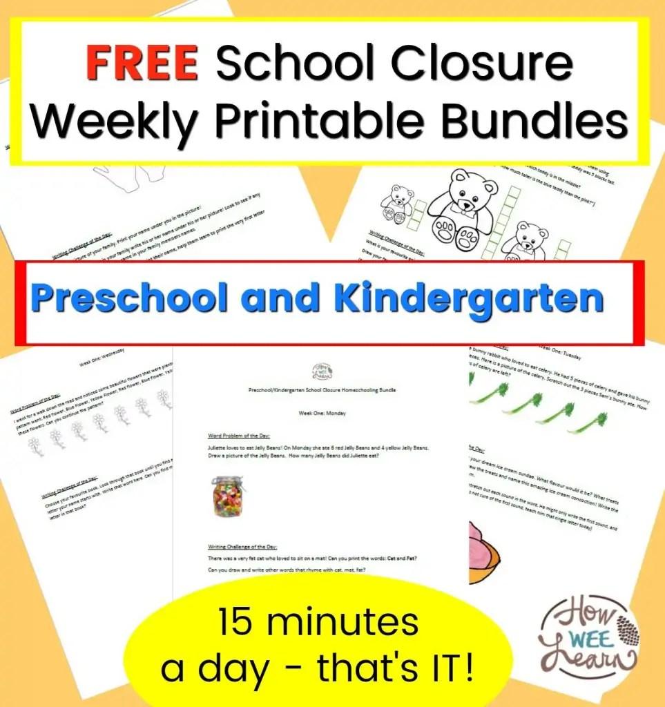 medium resolution of Preschool and Kindergarten School Closure Homeschooling Printables - How  Wee Learn