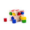 Classic Wooden Shape Sorter Cube Toy with Hinged Lid