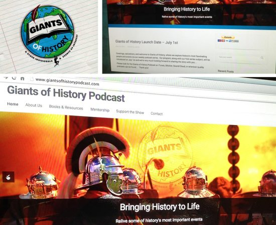 Howzit Media Marketing, Giants Of History Podcast Marketing Layout
