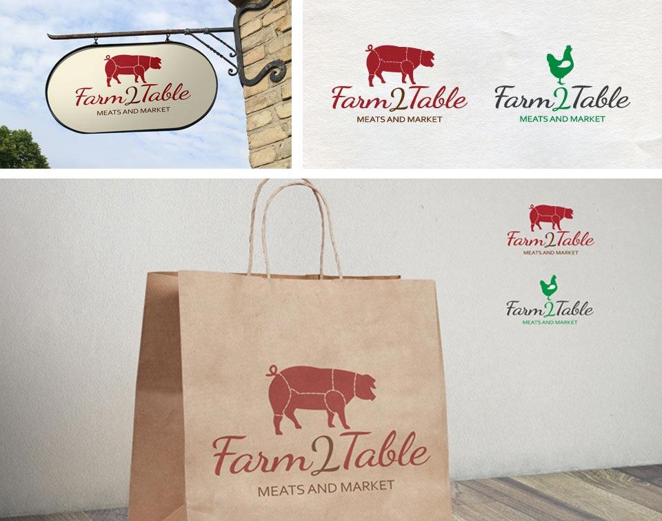 Farm 2 Table Logo branding mockups