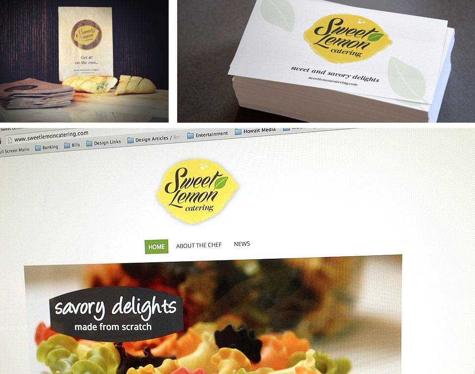 Sweet Lemon Catering business cards, packaging and website branding