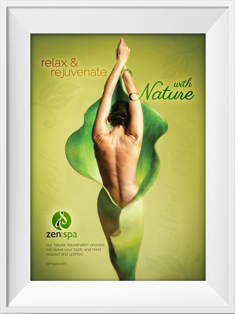 Zen Spa relax and rejuvenate poster branding