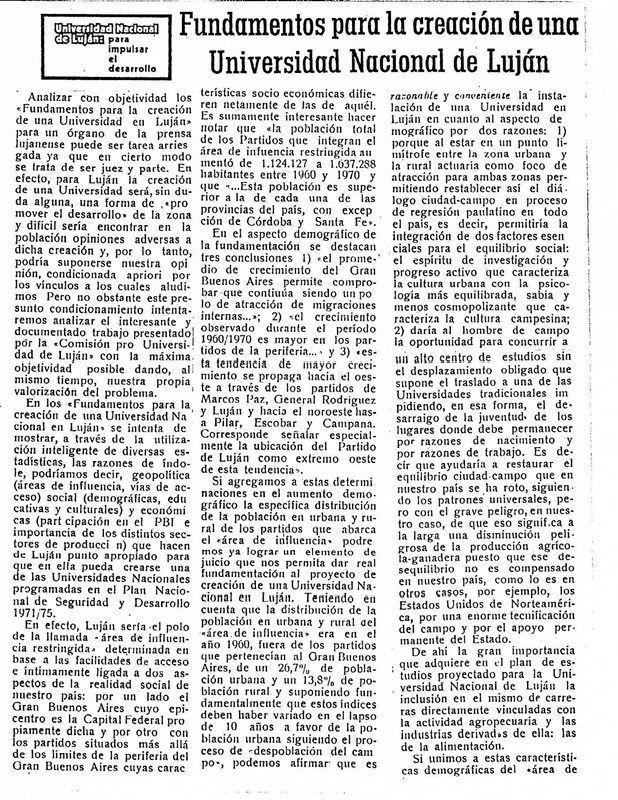 """Escrito publicado en """"El Civismo"""" de Luján en relación a los debates previos a su apertura en 1971. La UNLu se crea por decreto Ley del presidente de facto Lanusse en diciembre de 1972."""